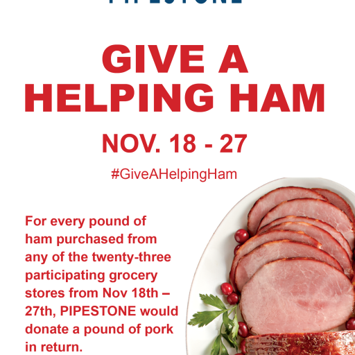 PIPESTONE Donates Over 1 Million Servings of Pork Through Give a Helping Ham Program
